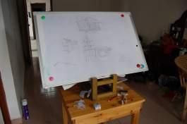 White board/stool easel